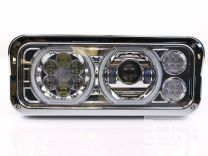 Trux UNIVERSAL CHROME LED PROJECTOR HEADLIGHT ASSEMBLY WITH AUXILIARY HALO RINGS & HOUSING (DRIVER SIDE)