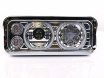 Trux UNIVERSAL CHROME LED PROJECTOR HEADLIGHT ASSEMBLY WITH AUXILIARY HALO RINGS & HOUSING (PASSENGER SIDE)