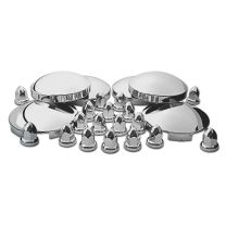 TRUX Complete Stainless Steel Hub Cap & Chrome ABS Plastic Cover Kit